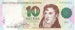 10 Argentinos pesų.