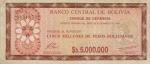 5000000 Bolivijos bolivianų.