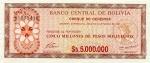 5000000 Bolivijos pesų bolivianų.