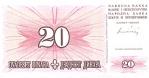 20 Bosnijos ir Hercegovinos dinarų.