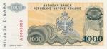 1000 Kroatijos dinarų.