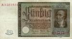 50 Vokietijos rentenmarkių.