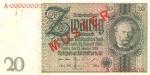 20 Vokietijos reichsmarkių.
