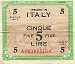 5 Italijos liros.