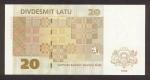 20 Latvijos latų.