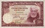 50 Ispanijos pesetos.
