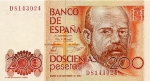 200 Ispanijos pesetų.