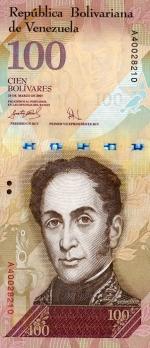 100 Venesuelos bolivarų.