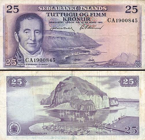 25 Islandijos kronos.