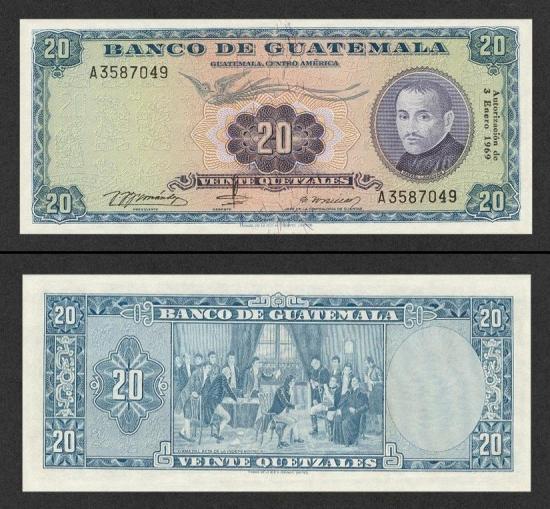 20 Gvatemalos kvedzalų.