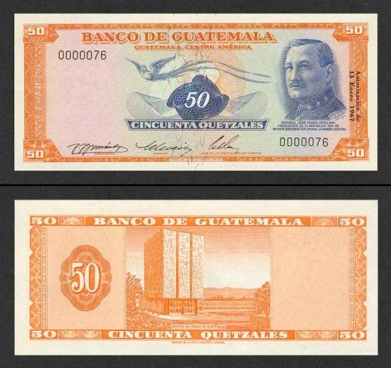 50 Gvatemalos kvedzalų.