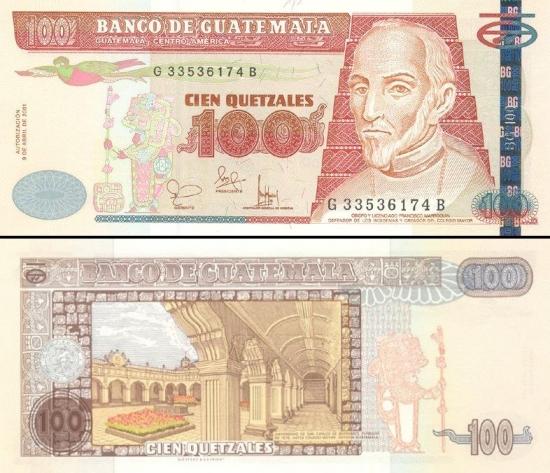 100 Gvatemalos kvedzalai.