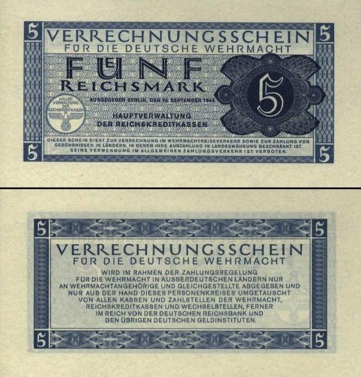 5 Vokietijos reichsmarkės.