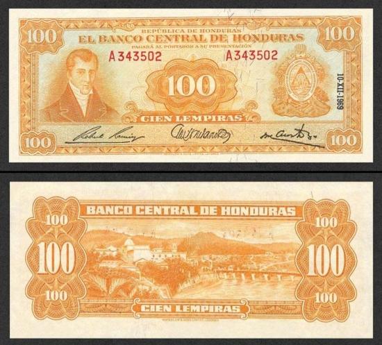 100 Hondūro lempirų.