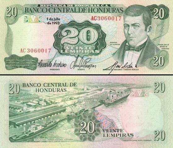 20 Hondūro lempirų.