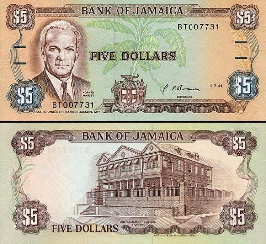 5 Jamaikos doleriia.
