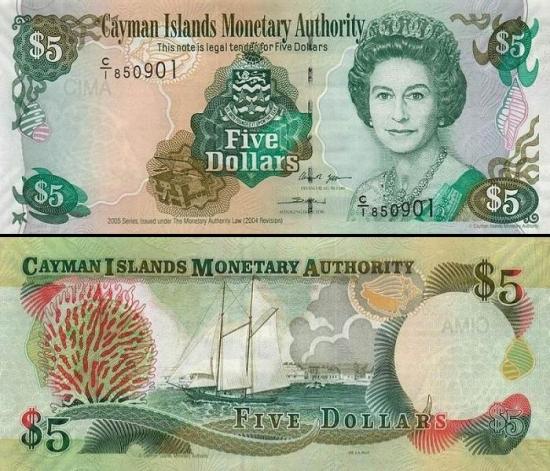 5 Kaimanų salų doleriai.