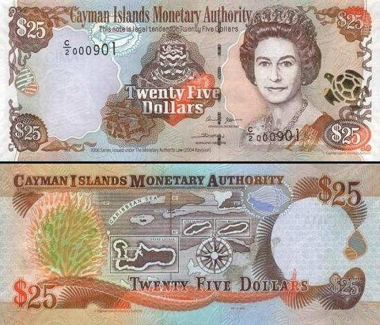 25 Kaimanų salų doleriai.