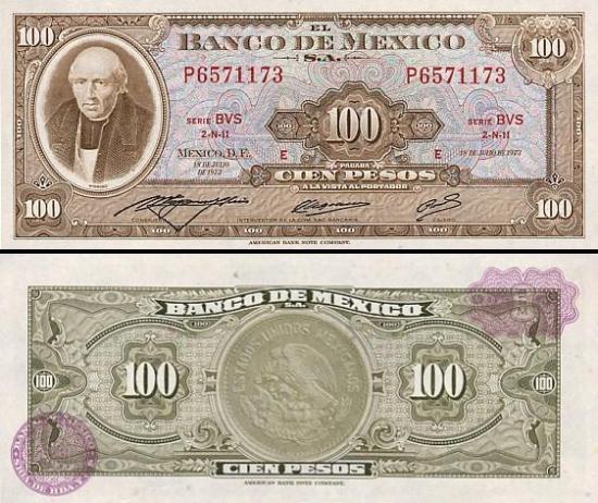 100 Meksikos pesų.