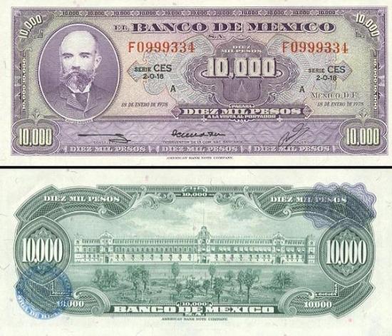 10000 Meksikos pesų.