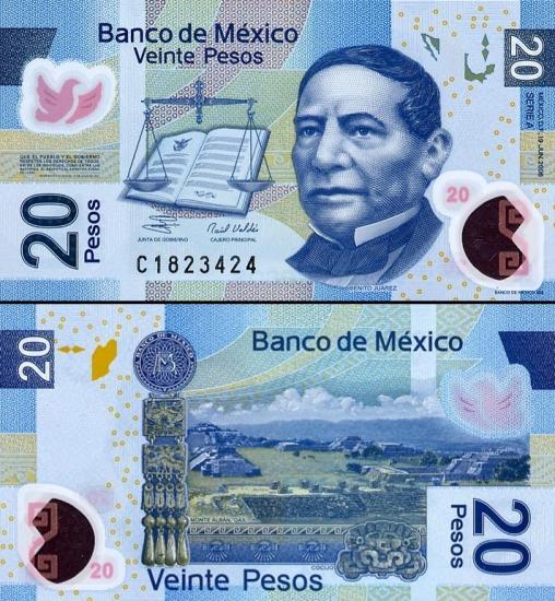 20 Meksikos pesų.