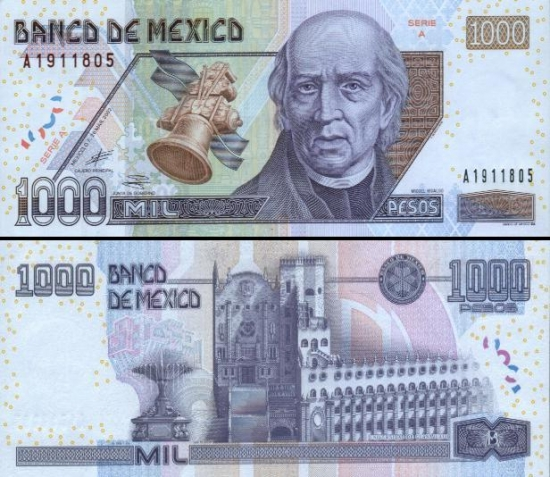 1000 Meksikos pesų.