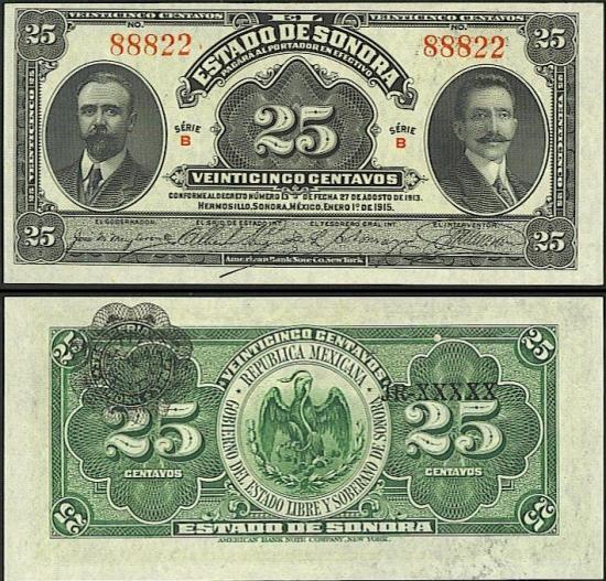 25 Meksikos centavos.
