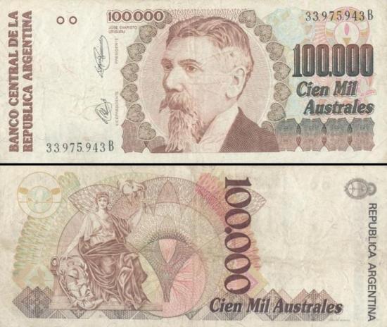 100000 Argentinos australų.