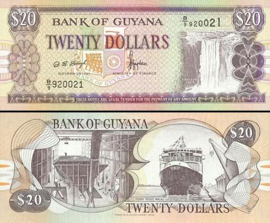 20 Gvianos dolerių.