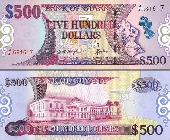 500 Gvianos dolerių.