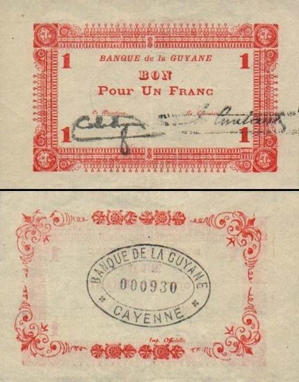 1 Prancūzijos Gvianos frankas.