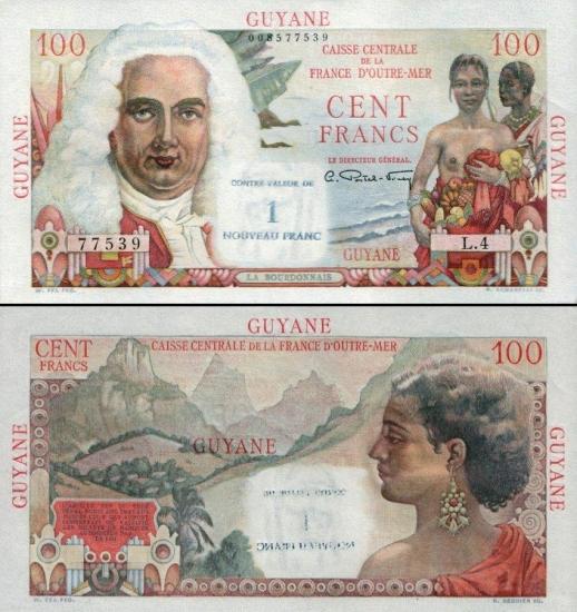 100 Prancūzijos Gvianos frankų.