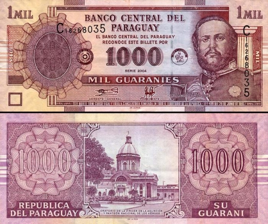 1000 Paragvajaus gvaranių.