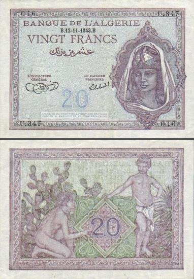 20 Alžyro frankų.