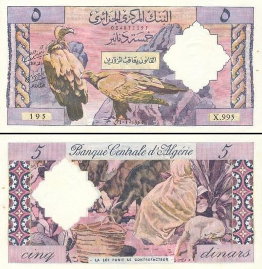 5 Alžyro dinarai.
