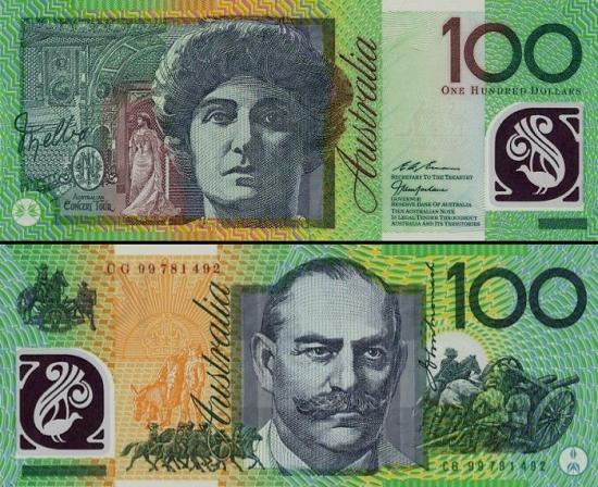 100 Australijos dolerių.