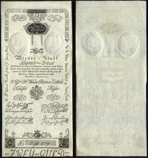 2 Austrijos guldenai.