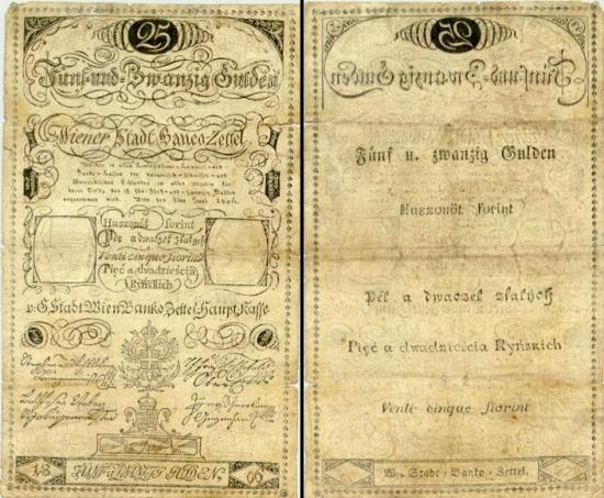 25 Austrijos guldenai.