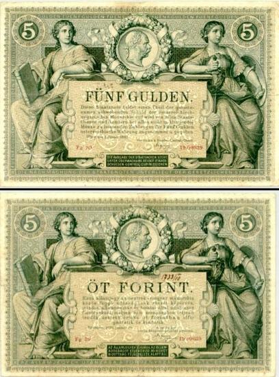 5 Austrijos guldenai.