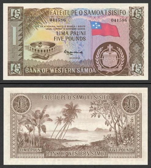 5 Vakarų Samoa svarai.
