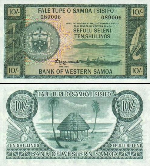 10 Vakarų Samoa šilingų.