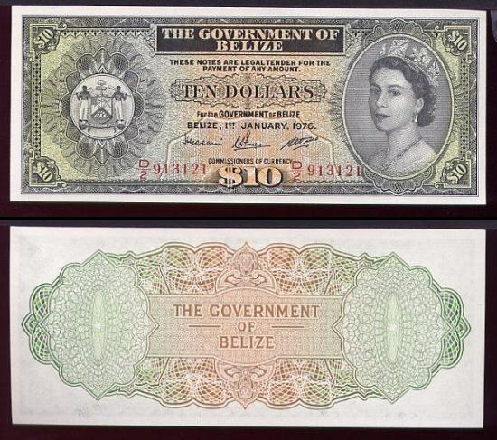 10 Belizo dolerių.