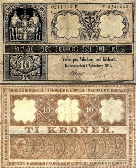 10 Danijos kronų.