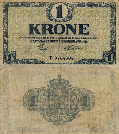 1 Danijos krona.