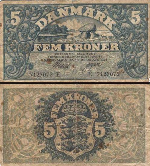 5 Danijos kronos.