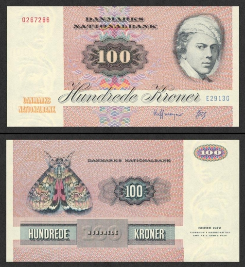 100 Danijos kronų.