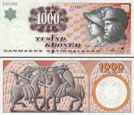 1000 Danijos kronų.