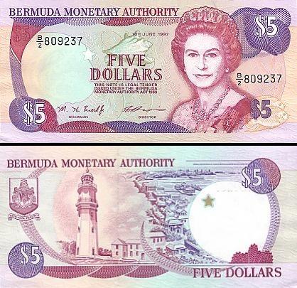 5 Bermudos doleriai.