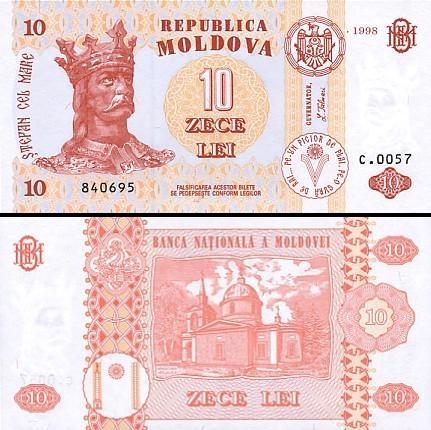 10 Moldovos lėjų.
