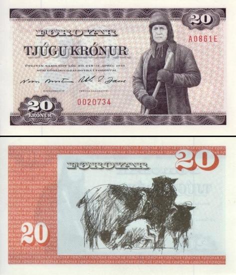 20 Farerų salų kronų.